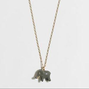 J Crew Elephant enamel critter charm necklace gold